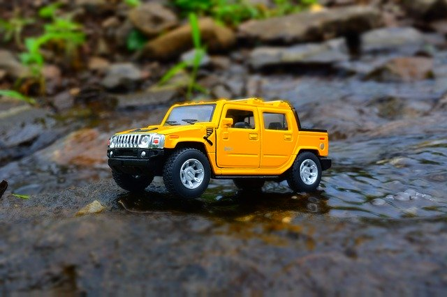 Miniature Car Yellow Hummer
